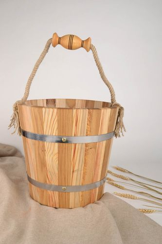 Handmade wood bucket for bath sauna accessories sauna bucket present for men - MADEheart.com