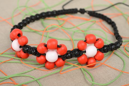 Macrame woven transforming jewelry Red and Black - MADEheart.com
