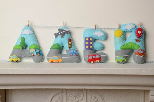 Handmade decorative wall hanging colorful soft letters for childs room  - MADEheart.com