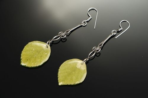 Earrings with epoxy resin Petals of acacia - MADEheart.com