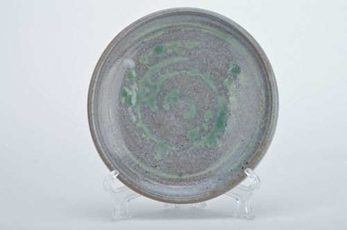 Handmade decorative round ceramic plate coated with glaze in blue green colors - MADEheart.com