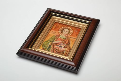 Orthodox amber icon reproduction of St. Panteleimon - MADEheart.com