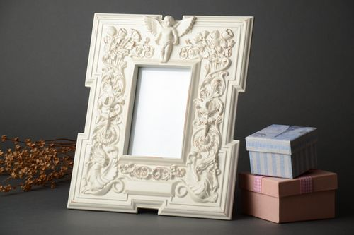 White wooden photo frame 10x15 - MADEheart.com