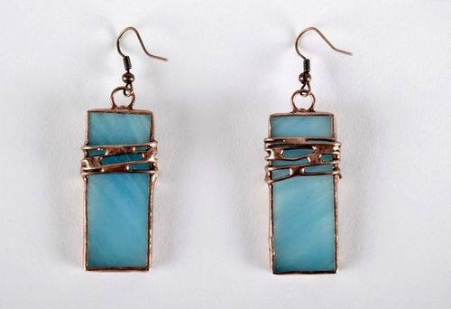 Stained glass long earrings made of copper and glass - MADEheart.com