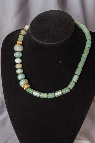 Handmade necklace with natural stones aventurine jade accessory stylish jewelry - MADEheart.com