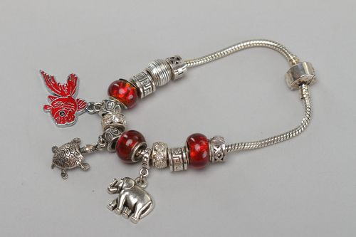 Beautiful handmade wrist metal bracelet with glass beads and charms for girls - MADEheart.com