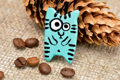 Cute handmade wooden brooch wood craft bright brooch jewelry small gifts - MADEheart.com