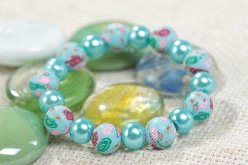 Small handmade childrens polymer clay bracelet with beads designer jewelry - MADEheart.com