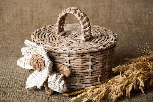 Stylish handmade woven bread basket unusual home accessories lovely home decor - MADEheart.com