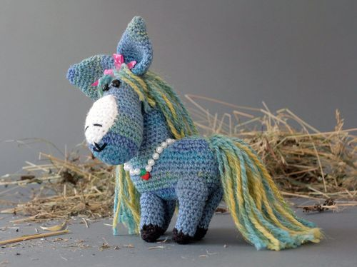 Soft toy Blue horse - MADEheart.com