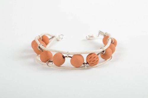 Unusual handmade ceramic bracelet wax cord bracelet for women gifts for her - MADEheart.com