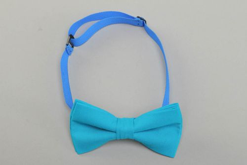 One-colored blue handmade fabric bow tie - MADEheart.com
