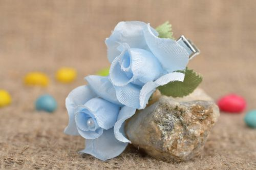 Handmade stylish tender beautiful small blue flower hair clip for kids - MADEheart.com