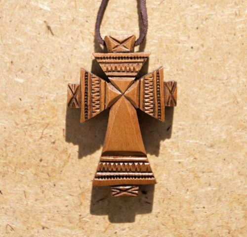 Carved cross pendant Mill on a leather cord - MADEheart.com