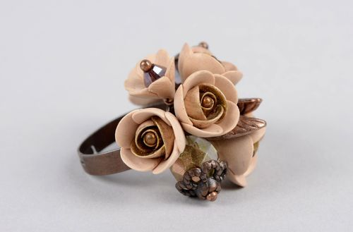 Handmade polymer clay ring with flowers designer ring fashion jewelry for women - MADEheart.com
