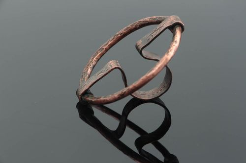 Handmade round top copper ring with galvanic coating unusual stylish beautiful - MADEheart.com