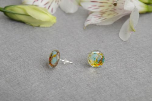 Beautiful stylish earrings made of fusing glass in marine style hand made  - MADEheart.com