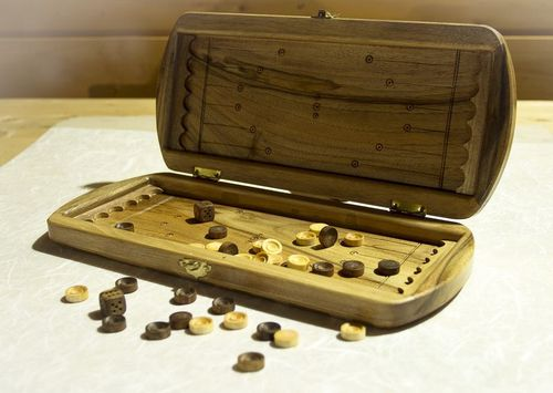 Wooden hand carved backgammon - MADEheart.com