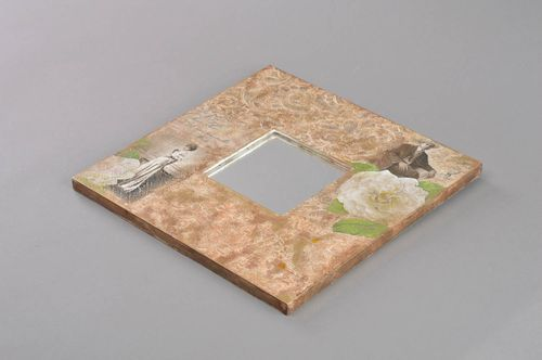 Beautiful handmade square decoupage mirror in brown wooden frame - MADEheart.com