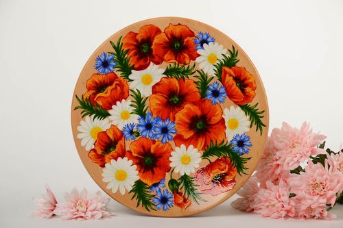 Handmade large decorative painted wooden wall plate beautiful wall panel - MADEheart.com