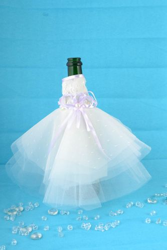 Handmade designer decorative champagne bottle cover wedding white satin dress - MADEheart.com