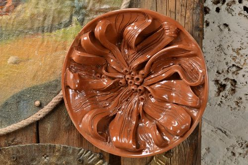 Handmade volume molded glazed ceramic wall plate with decor - MADEheart.com