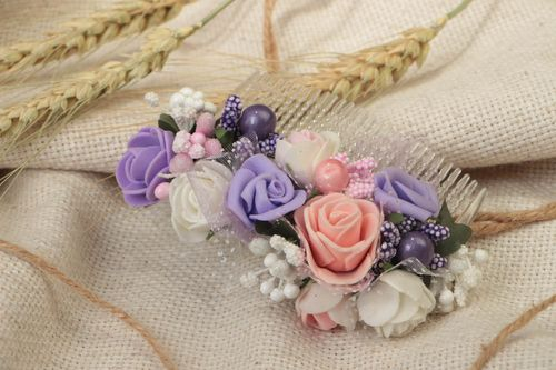 Handmade beautiful elegant hair comb with flowers Roses designer hair accessory - MADEheart.com