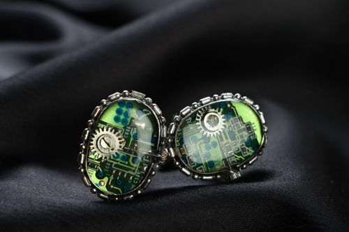 Cuff links with clock mechanism - MADEheart.com