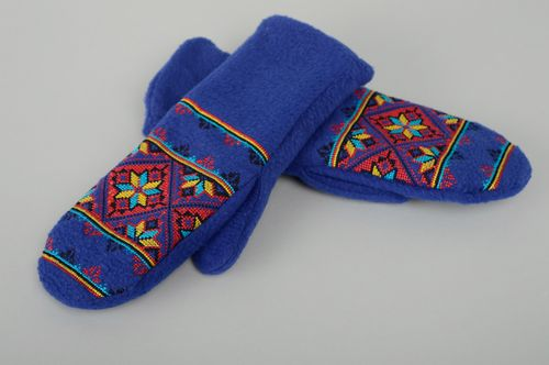 Warm blue fleece mittens with embroidery - MADEheart.com