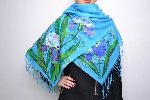 Beautiful painted scarf in blue color palette - MADEheart.com