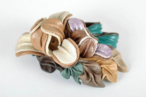 Brooch-hairpin made of genuine leather - MADEheart.com