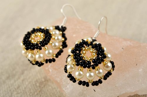 Handmade designer beaded earrings unusual round earrings summer accessory - MADEheart.com