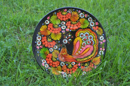 Handmade home decor decorative wall plates wood plate decorative painting - MADEheart.com
