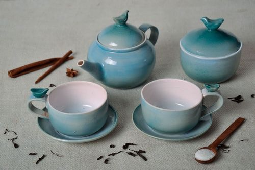 Clay tea set JUST sugar bowl and tea pot!!!) - MADEheart.com