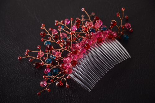 Handmade beaded comb designer stylish hair comb elegant hair accessory - MADEheart.com