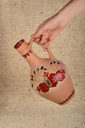 45 oz handmade ceramic wine carafe with hand-painted picture 1,7 lb - MADEheart.com