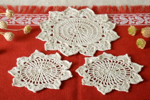 Lace napkin handmade crocheted napkin table decor kitchen interior ideas - MADEheart.com