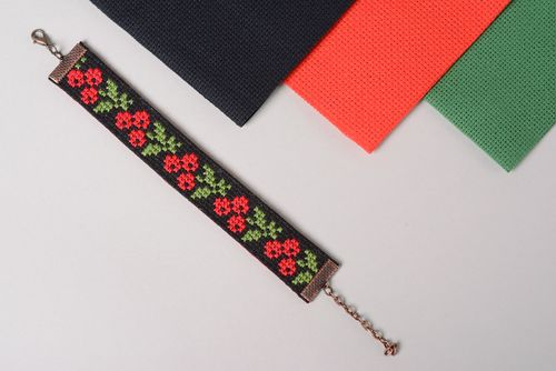 Handmade wrist bracelet with bright ethnic embroidery black background for women - MADEheart.com