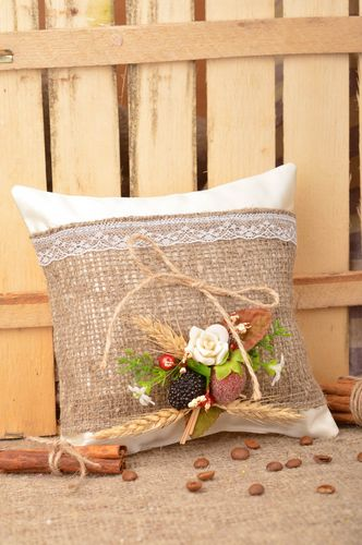 Handmade designer satin fabric ring pillow with flowers in country style - MADEheart.com