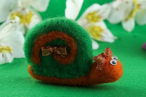 Unusual handmade soft toy felted wool toy home design decorative use only - MADEheart.com