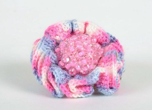 Knitted brooch-hairpin Flower - MADEheart.com
