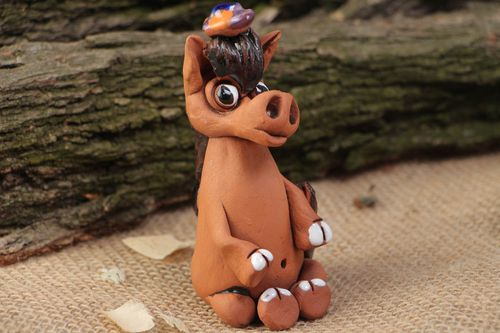 Handmade brown ceramic statuette of horse painted with acrylics - MADEheart.com