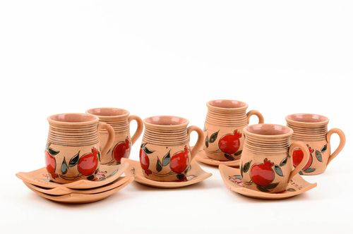 Handmade tea set 6 ceramic cups teacups and saucers kitchen decorating ideas - MADEheart.com