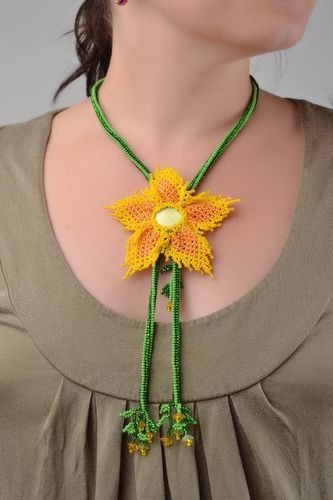 Bright long handmade necklace made of beads and natural stones Yellow flower - MADEheart.com