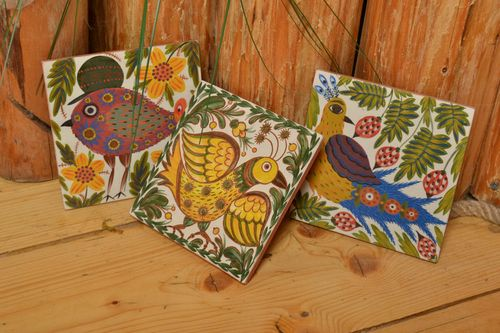 Set of 3 handmade bright decorative ceramic tiles painted with engobes Birds - MADEheart.com