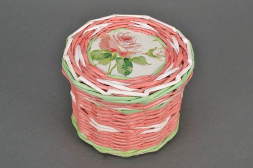 Beautiful basket woven of paper rod Rose - MADEheart.com