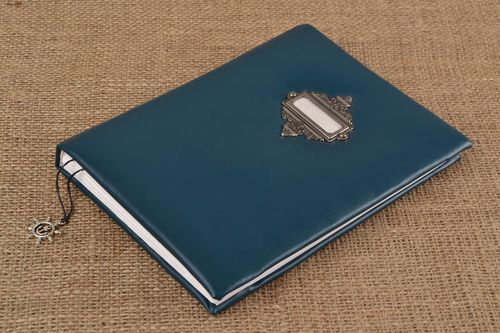 Handmade designer notebook with dark blue faux leather cover scrapbooking - MADEheart.com