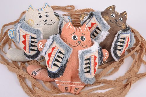 Set of 3 handmade painted with acrylics fragrant soft toys cats in vests - MADEheart.com