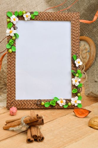 Handmade brown designer photo frame with polymer clay flowers and straw - MADEheart.com