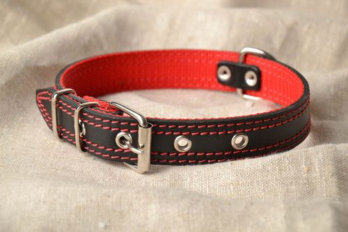 Brown leather dog collar - MADEheart.com